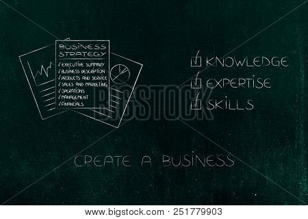 Knowledge Expertise And Skills Conceptual Illustration: Ticked Off Captions Next To Business Plan Do
