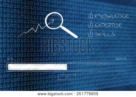 Knowledge Expertise And Skills Conceptual Illustration: Progress Bar Loading And  Captions Next To M