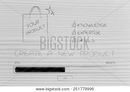 Knowledge Expertise And Skills Conceptual Illustration: Progress Bar Loading And  Captions Next To P