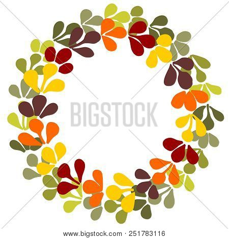 Autumn Laurel Wreath Vector Frame Isolated On White Background
