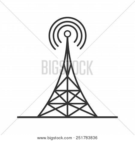 Radio Tower Linear Icon. Thin Line Illustration. Antenna. Contour Symbol. Vector Isolated Outline Dr