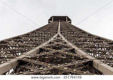 A Balanced View Up The Eiffel Tower, Paris.