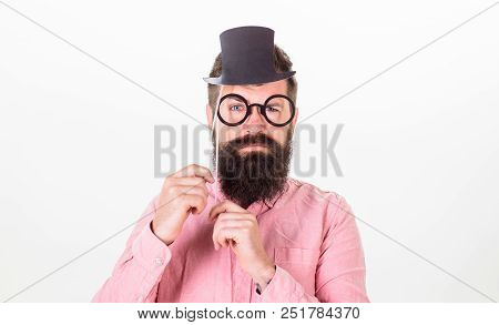 Signs Someone Is Smarter Than You. Man Bearded Hipster Hold Cardboard Top Hat And Eyeglasses To Look
