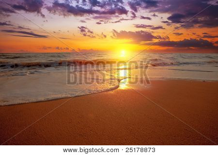 sunset on a background a sea