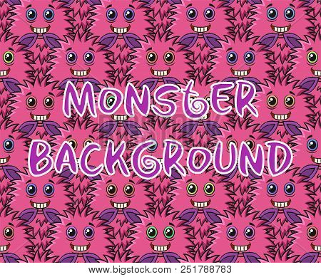 Seamless Background With Fluffy Pink Cartoon Monsters, Cute Funny Characters. Vector