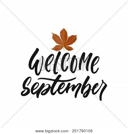Welcome September - Hand Drawn Seasons Greeting Positive Lettering Phrase Isolated On The White Back