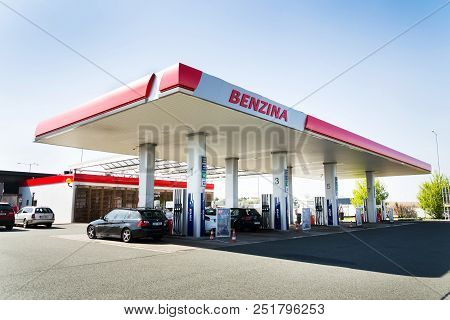 Osice, Czech Republic - April 20 2018: Benzina Oil And Gas Company Logo On Petrol Station On April 2