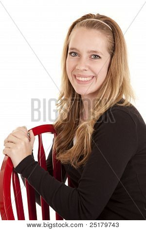 Girl Red Chair Smile