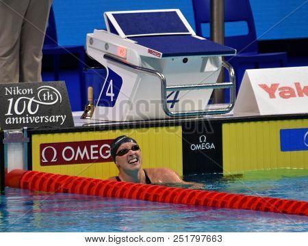 Budapest, Hungary - Jul 25, 2017. Competitive Swimmer Ledecky Katie (usa) Winner Of The 1500m Freest