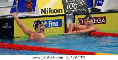 Budapest, Hungary - Jul 25, 2017. Competitive Swimmer Ledecky Katie (usa) And Belmonte Mireia (esp)