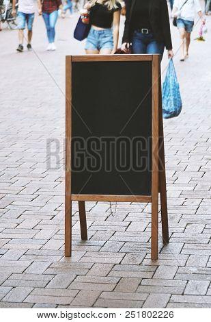 Blank Blackboard Chalkboard Advertising Sign Board Or Customer Stopper In Pedestrian Shopping Street