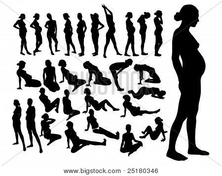 movements of pregnant women in yoga exercise, silhouette poster