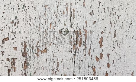 Distressed Wooden Texture With Cracks And Flaking Paint. White Painted Cracked Grunge Texture With N
