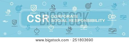 Csr-social Responsibility Web Banner Icon Set & Web Header Banner W Honesty, Integrity, Collaboratio