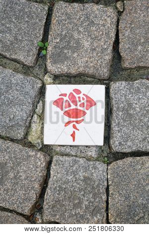 Rose Route In Hildesheim Germany, Paving Stones With Ceramic Plaques With Rose Symbol Marking Self-g