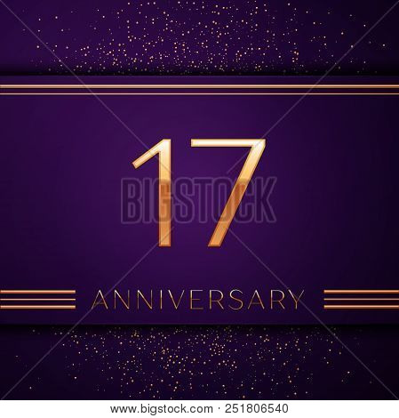 Realistic Seventeen Years Anniversary Celebration Design Banner. Golden Number And Confetti On Purpl
