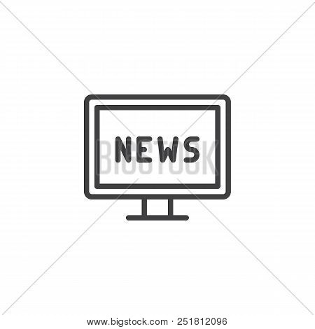 Tv News Outline Icon. Linear Style Sign For Mobile Concept And Web Design. Television News Simple Li