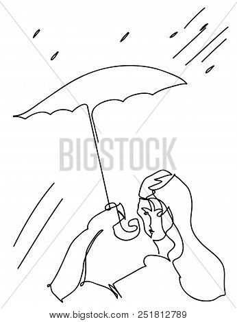 An Umbrella And Woman.  Simple Line Illustration Of Umbrella And Woman. Woman In The Drizzle Rain.