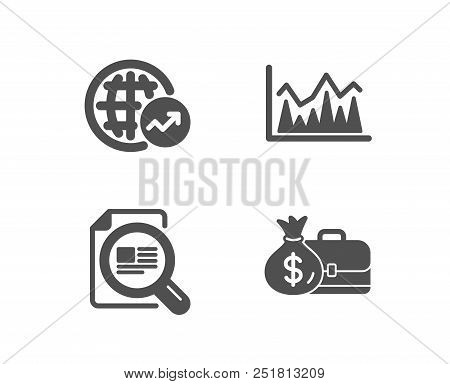 Set Of World Statistics, Check Article And Investment Icons. Salary Sign. Global Report, Magnifying