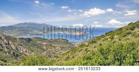 View To Portoferraio On Island Of Elba,tuscany,mediterranean Sea,italy