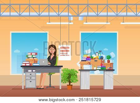 Young Girl, Office Worker, Businesswoman, Working At Computer In Office, On Background Interior. Roo