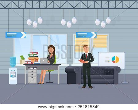 Girl, Office Worker, Businesswoman, Works At Computer In Office, On Background Of Interior Room And