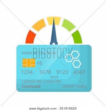 Indicator Of Credit Score, Approval Of Solvency And Creditworthiness, With A Color Level From Bad To