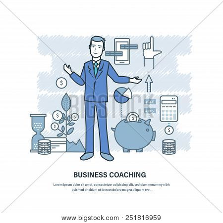 Business Coaching. Corporate Training, Teaching Of Business People, Colleagues, Partners, Online Dis