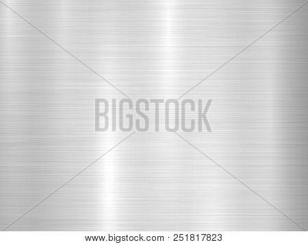 Metal Horizontal Abstract Technology Background With Polished, Brushed Texture, Chrome, Silver, Stee