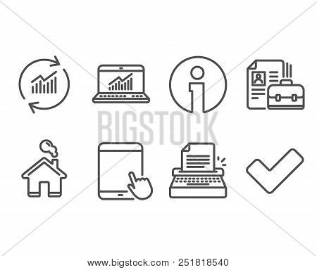 Set Of Typewriter, Vacancy And Online Statistics Icons. Tablet Pc, Update Data And Tick Signs. Write