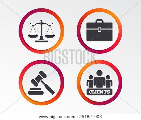 Scales Of Justice Icon. Group Of Clients Symbol. Auction Hammer Sign. Law Judge Gavel. Court Of Law.