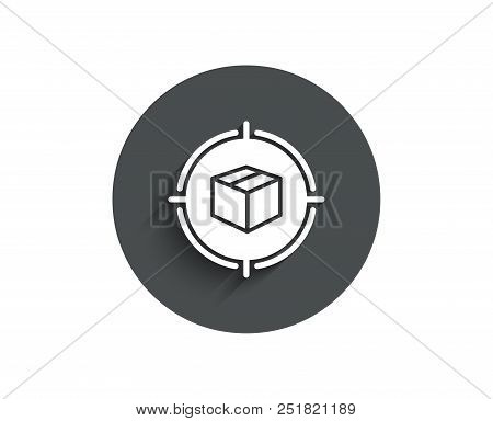 Parcel Tracking Simple Icon. Delivery Monitoring Sign. Shipping Box In Target Symbol. Circle Flat Bu