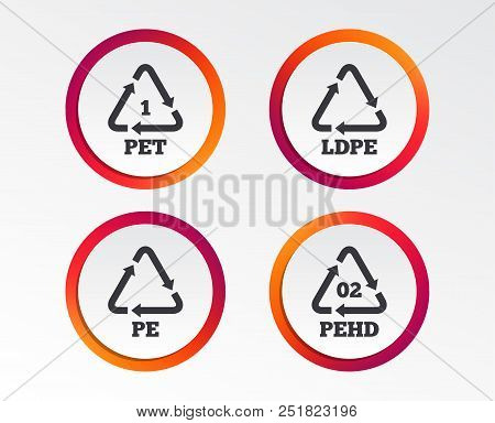Pet, Ld-pe And Hd-pe Icons. High-density Polyethylene Terephthalate Sign. Recycling Symbol. Infograp