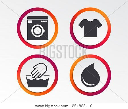 Wash machine icon. Hand wash. T-shirt clothes symbol. Laundry washhouse and water drop signs. Not machine washable. Infographic design buttons. Circle templates. Vector poster