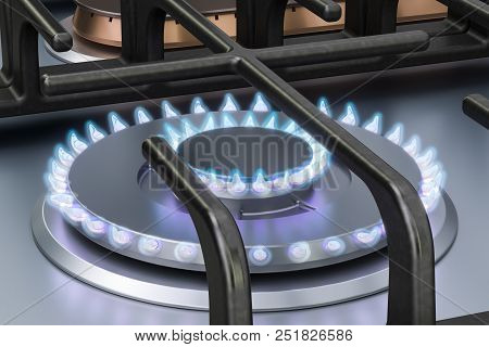 Gas cooker with double gas burners. 3D rendering poster