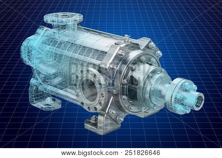 Visualization 3d cad model of centrifugal pump, 3D rendering poster