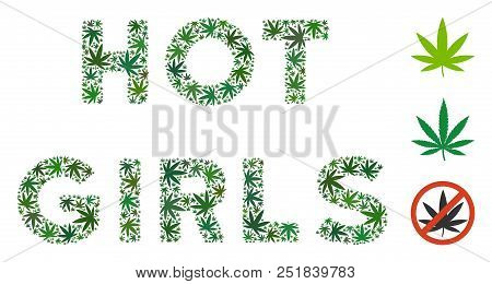 Hot Girls label collage of weed leaves in various sizes and green tints. Vector flat weed leaves are united into Hot Girls label illustration. Herbal vector illustration. poster