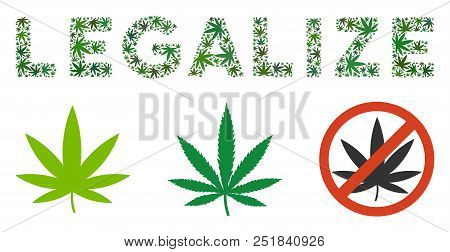 Legalize Caption Collage Of Hemp Leaves In Different Sizes And Green Tints. Vector Flat Hemp Leaves