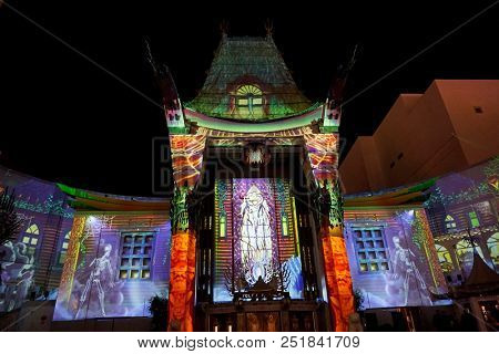 LOS ANGELES - OCT 24: 3d mapping outside the TCL Chinese Theatre IMAX at Michael Jackson Scream Halloween Takeover at TCL Chinese Theatre IMAX on O