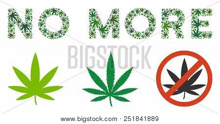 No More Label Composition Of Marijuana Leaves In Variable Sizes And Green Tones. Vector Flat Hemp Le