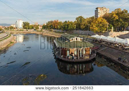 Nis, Serbia- October 21, 2017: Panoramic View Of City Of Nis And Bridge Over Nisava River, Serbia