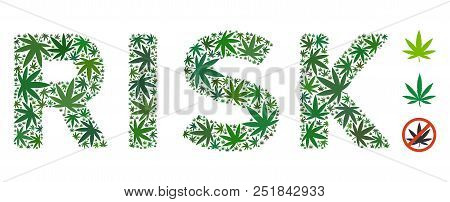 Risk Caption Collage Of Hemp Leaves In Different Sizes And Green Tinges. Vector Flat Marijuana Icons