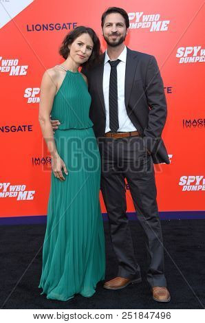 LOS ANGELES - JUL 25:  Miriam Novak and Daniel Hackbarth arrives to 'The Spy Who Dumped Me' Los Angeles Premiere  on July 25, 2018 in Hollywood, CA