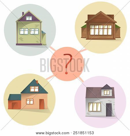 Choosing House, Comparing Property To Buy Or Rent, Vector Concept Diagram
