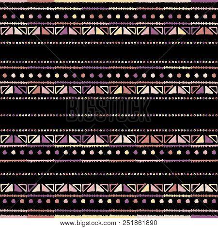 Handmade Colored Stripes Bright Tribal Seamless Pattern Look Like Carpet. Boarder Pattern. Tribal Pa