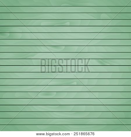 Cartoon Wooden Table Background. Planks. Vector Illustration. Texture Of A Tree. Light Green Woody S