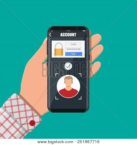 Hands With Smartphone Unlocked By Face Recognition. Mobile Phone Security, Personal Access Via Finge