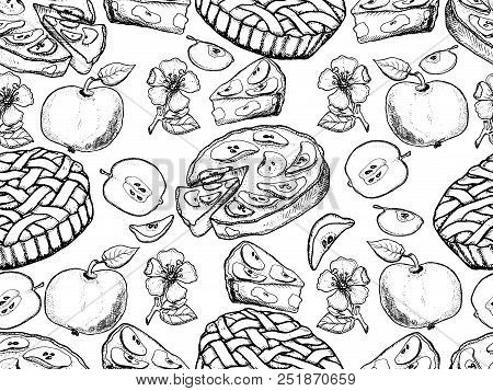 Rustic Pattern. Hand Drawn Apples, Apples Slices, Apple Blossom, Apple Pie, Vector Seamless Backgrou