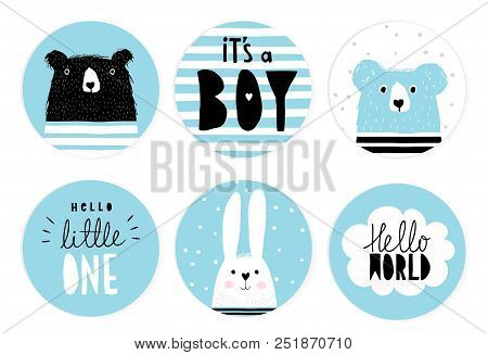 Hand Drawn Candy Bar Baby Shower Vector Tag Set. Blue And White Circle Shape Tags. Black Hand Writte