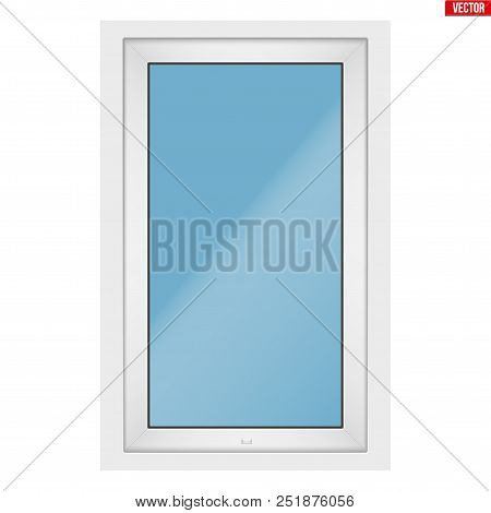 Metal Plastic Pvc Window With One Sash And One Opening Casement. Outdoor View. Presentation Of Model